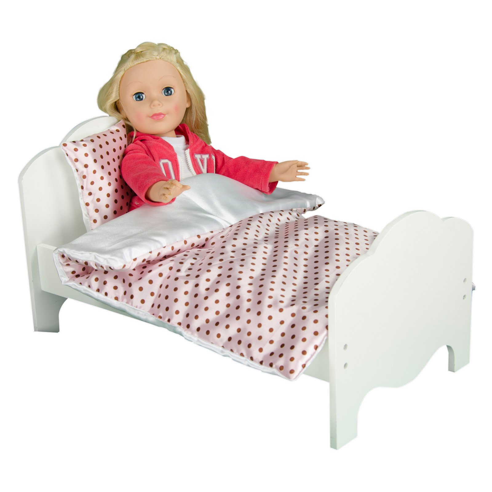 "Olivia's Little World - Little Princess 18"" Doll Single Bed & Bedding Set - Polka Dots"