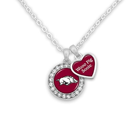 - Arkansas Razorbacks Logo and a Heart Shaped Charm Necklace with Team Slogan