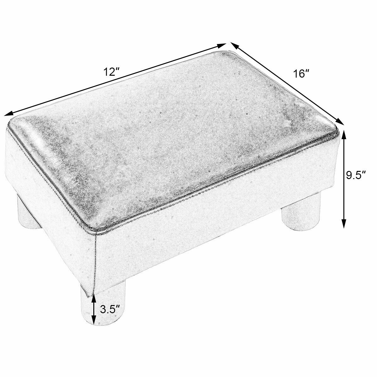 Costway Tabouret Ottoman Pouf Repose-Pied Si/ège Rectangulaire Cuir PU 40 30 Blanc 24cm