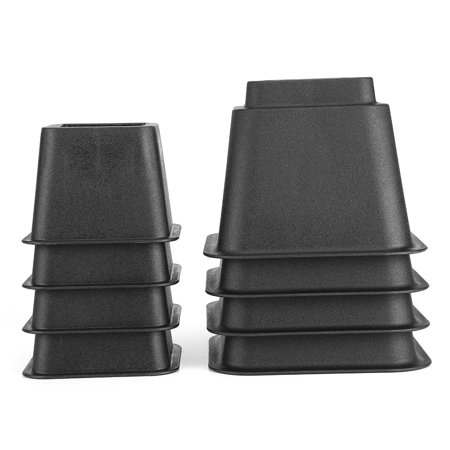 8pcs Black Bed Risers Set Chair Furniture Raisers Heavy Duty Bed Lift Blocks Adjustable Elephant Feet to 8, 5 or 3 Inches in Height for Home Furniture Bed Couch Sofa Table