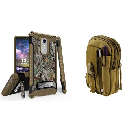 (Beyond Cell Military Grade [MIL-STD 810G-516.6] Kickstand Rugged Case (Tree Camo) with Khaki Tactical EDC MOLLE Utility Waist Pack Holder Pouch, Atom Cloth for LG Stylo 4)