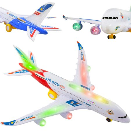 Airbus Toy Airplane Commercial Aircraft Toy Airplane with Flashing Lights and Sound (Red) drives with the Bump-and-Go (Toys To Take On Airplane For Toddler)