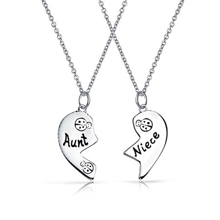 Etched Aunt Niece Split Broken Heart Shape Break Apart 2 PCS Lucky Lady Bug Gift Oxidized Sterling Silver Necklace 18 In