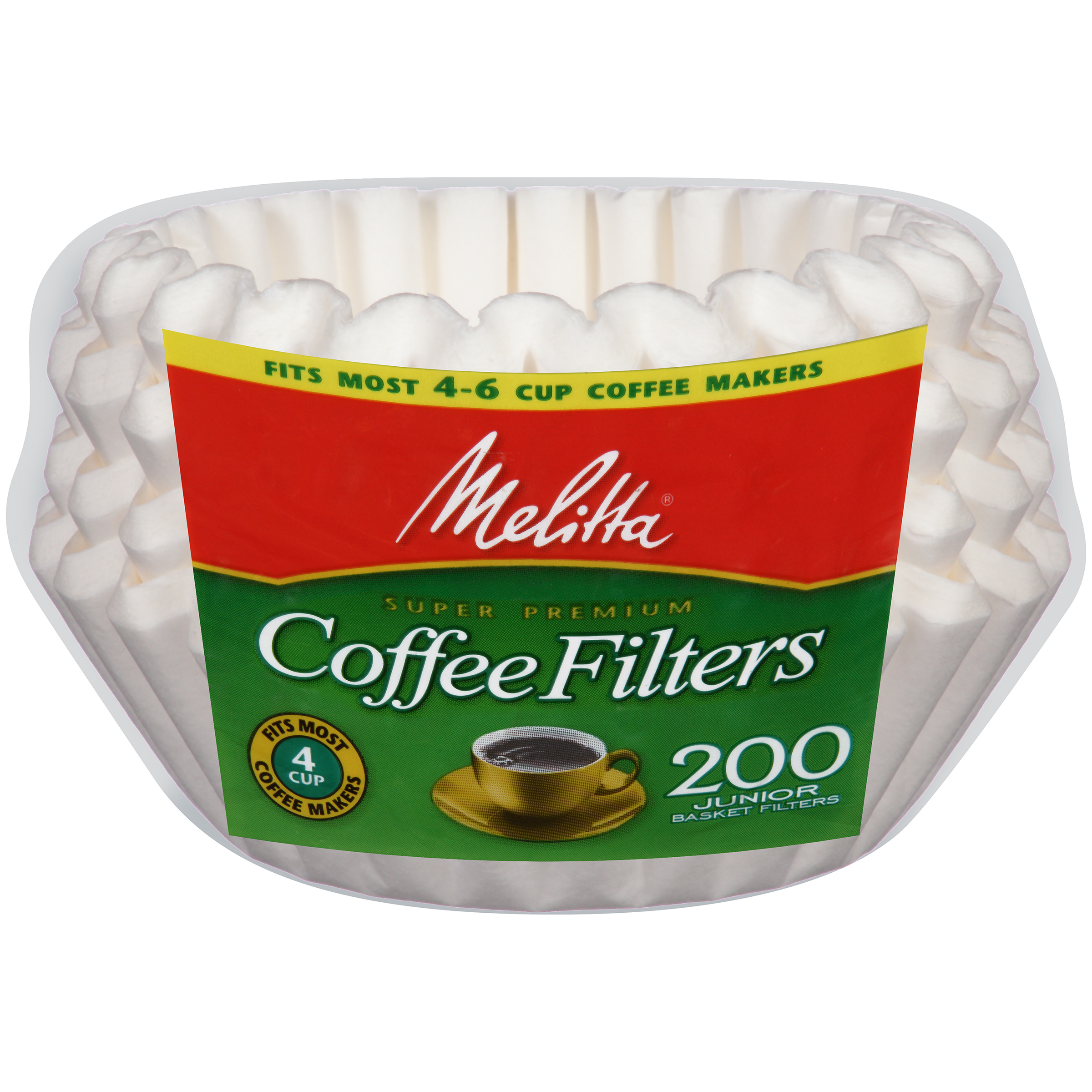 Melitta® White Paper Basket Coffee Filters 4-6 Cup Junior Size 200 ct Bag
