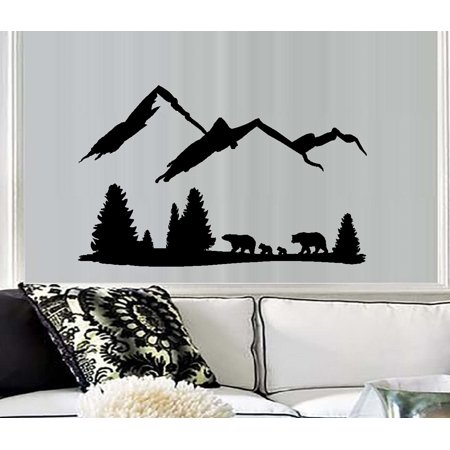 Mom Wall - Bear Mountain Scene #3~ Dad, Mom and two Cubs: Wall Decal 30