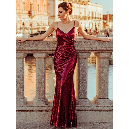Ever-Pretty Womens Ruched Waist Sequin Sexy Long Evening Cocktail Party Dresses for Women 73392 Burgundy US04