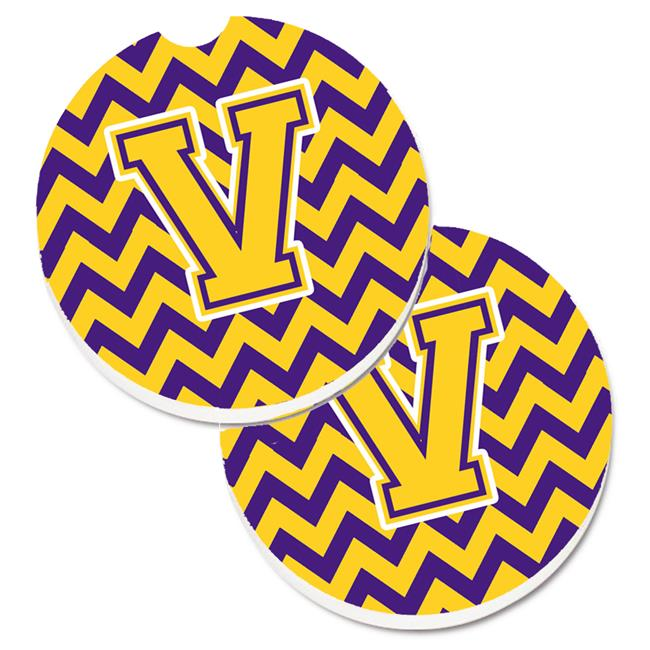 Letter V Chevron Purple & Gold Set of 2 Cup Holder Car Coaster - image 1 of 1