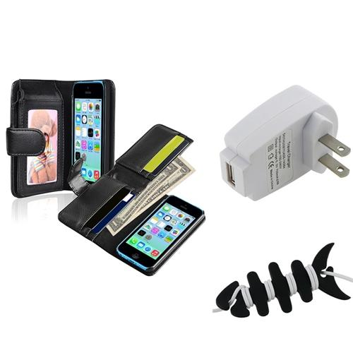 Insten Black Wallet Leather Case with Card Slot+Wall Charger Adapter+Wrap For Apple iPhone 5C
