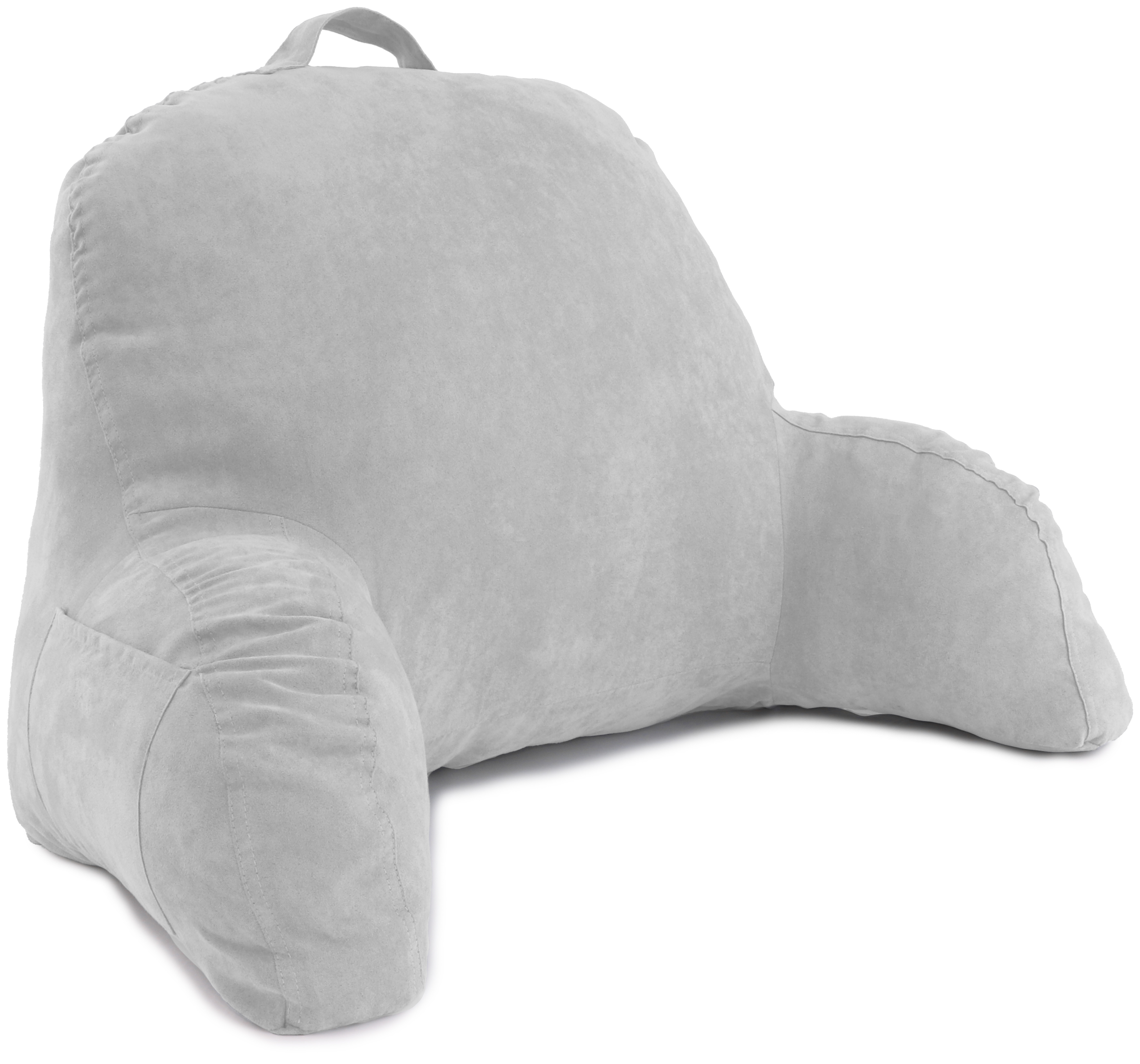 Deluxe Comfort Microsuede Bed Rest – Reading and Bedrest Lounger – Sitting Support Pillow – Soft But Firmly Stuffed Fiberfill – Backrest Pillow with Arms, Grey