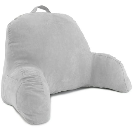 Deluxe Comfort Microsuede Bed Rest â Reading and Bedrest Lounger â Sitting Support Pillow â Soft But Firmly Stuffed Fiberfill â Backrest Pillow with Arms, Grey Box Bed Lounger