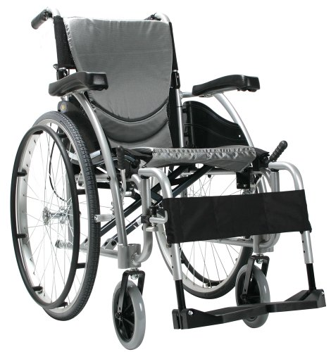 Karman Ergonomic Wheelchair in 16 inch Seat and Quick Release Axles, Pearl Silcer Frame