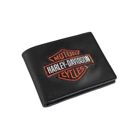 Men's Embroidered Bar & Shield Billfold Wallet, XML4336-ORGBLK, Harley Davidson Cardinals Embroidered Billfold