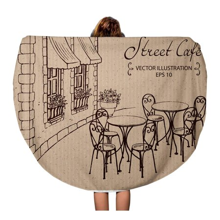 LADDKA 60 inch Round Beach Towel Blanket Brown Restaurant Street Cafe Tables Bistro France Italy Sketch Travel Circle Circular Towels Mat Tapestry Beach
