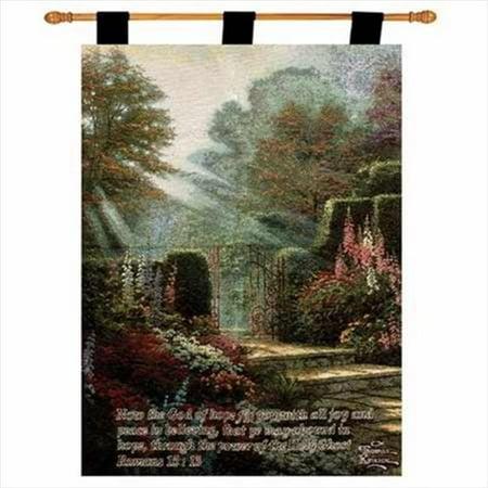 Garden of Grace w/Verse - Kinkade Fine Art Tapestry - A - H 36 x W 26 - image 1 of 1