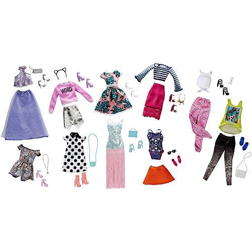 Mattel Barbie Pink Passport Fashion Doll Outfits - 10 Pack