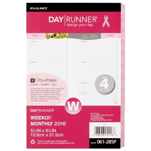Day Runner Special Edition Weekly Monthly Refill, 5 1/2 x 8 1/2, 2017 061285P