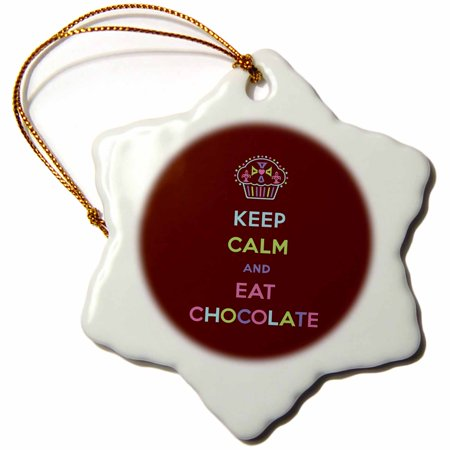 3dRose Keep calm and eat chocolate. Desserts. Candy. Sweets. - Snowflake Ornament, 3-inch (Snowflake Candy)