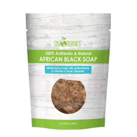 Sky Organics Nourishing Quality African Black Soap - Acne Treatment, Dry Skin, Rashes, Burns, Scar Removal, Face & Body - 16