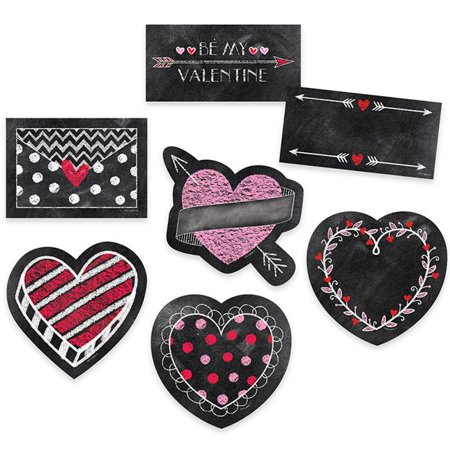 6 in. Chalk Hearts Designer Cut Outs - image 1 of 1