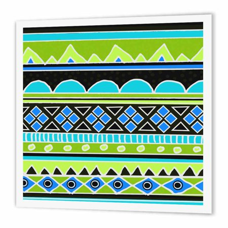 3dRose Neon tribal pattern - fluorescent green yellow electric blue black - aztec shapes patterned rows art, Iron On Heat Transfer, 10 by 10-inch, For White Material