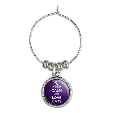 Keep Calm And Love Cats Paw Prints Wine Glass Charm Drink Marker