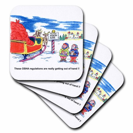 3dRose Kevin Edler Cartoon about Santa and OSHA for Christmas, Soft Coasters, set of 4
