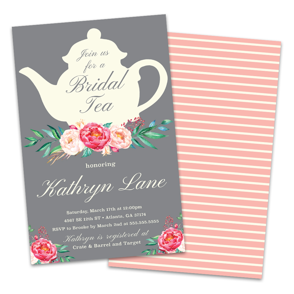 Personalized Tea Time Bridal Shower Invitations