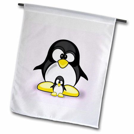 Image of 3dRose Penguin Parent with Baby Polyester 2'3'' x 1'6'' Garden Flag
