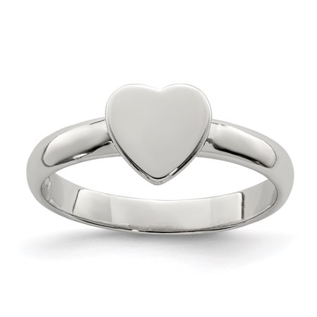 925 Sterling Silver Heart Band Ring Size 4.00 Baby Fine Jewelry Gifts For Women For Her - image 6 de 6
