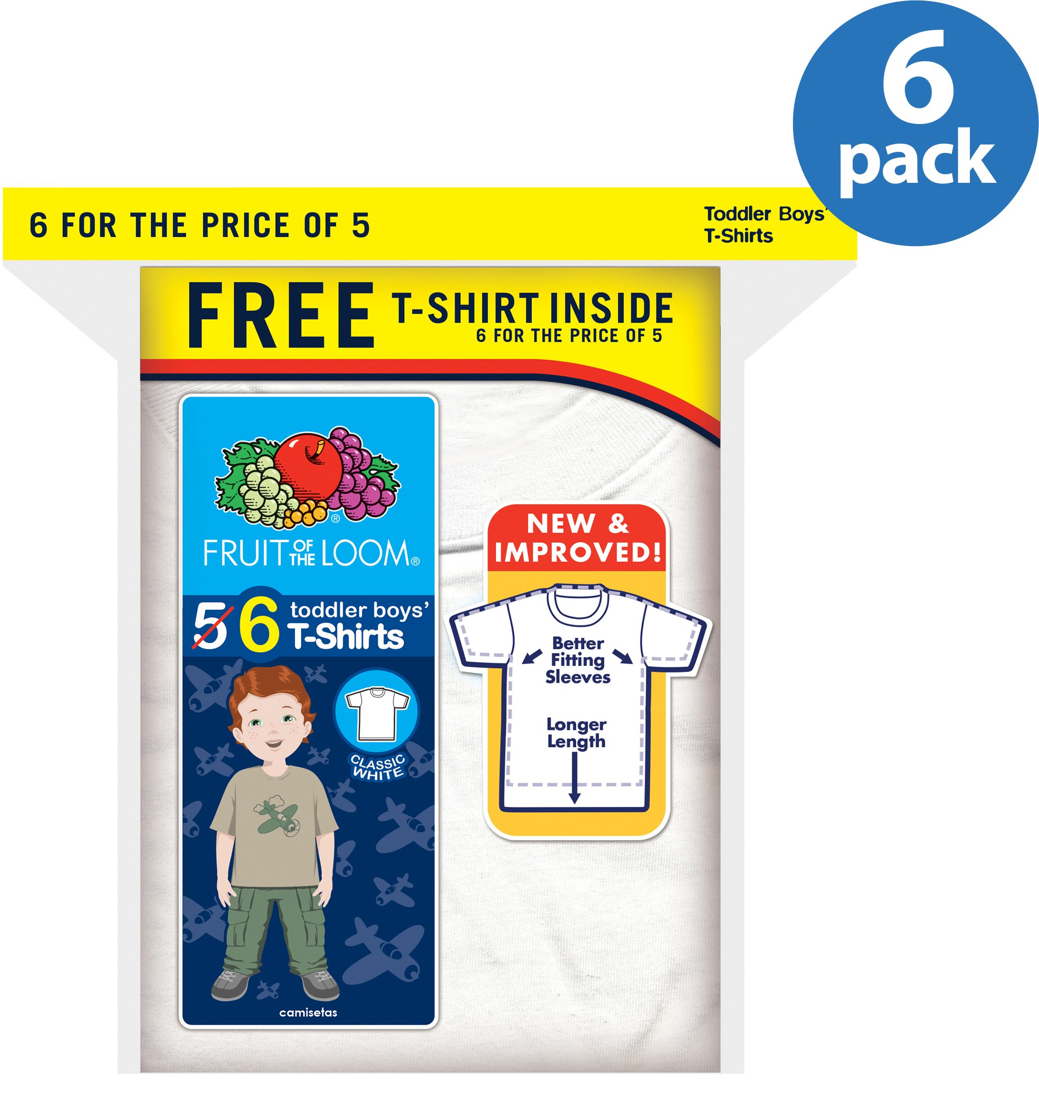 Fruit of the Loom Toddler Boys' Cotton Crew Tees, 5+1 Free, Bonus Pack