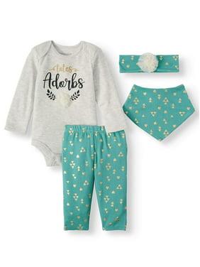 Miniville Baby Girl Long Sleeve Bodysuit, Bow-back Leggings, Bandana Bib & Headband, 4pc Outfit Set