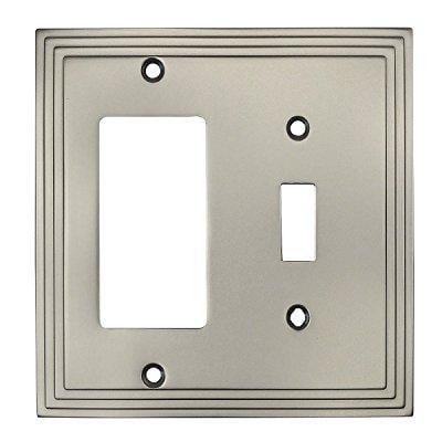 (cosmas 25077-sn satin nickel single toggle / gfi decora rocker combo wall switch plate switchplate cover)