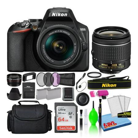 Nikon D3500 Digital Camera with 18-55mm Lens (1590) + 64GB SD Card + Bag (Intl)