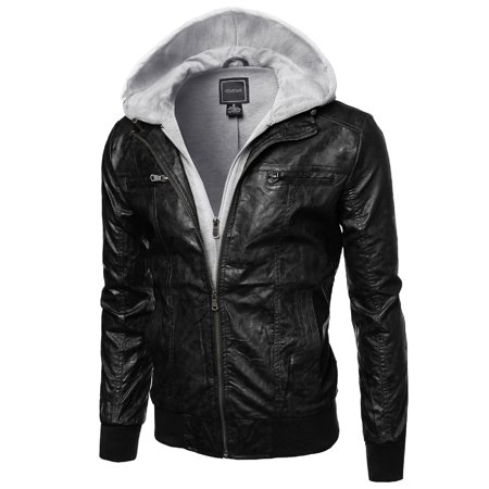 FashionOutfit Men's Refined Faux-Leather Motor Jacket with Detachable Hood