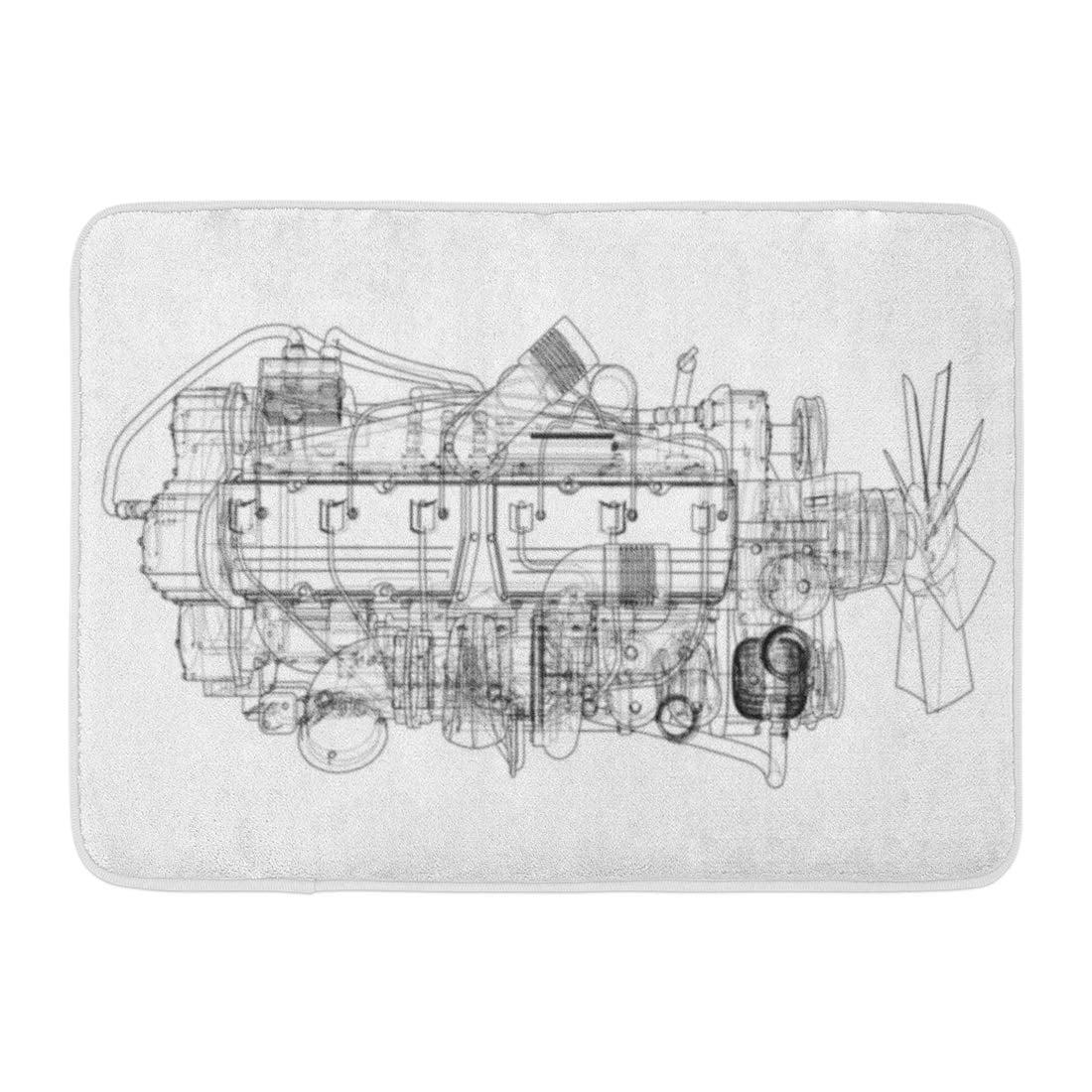 Godpok Blueprint Abstract Car Engine Format Rendering Of 3d Auto Cartoon Rug Doormat Bath Mat 23 6x15 7 Inch Walmart Com Walmart Com