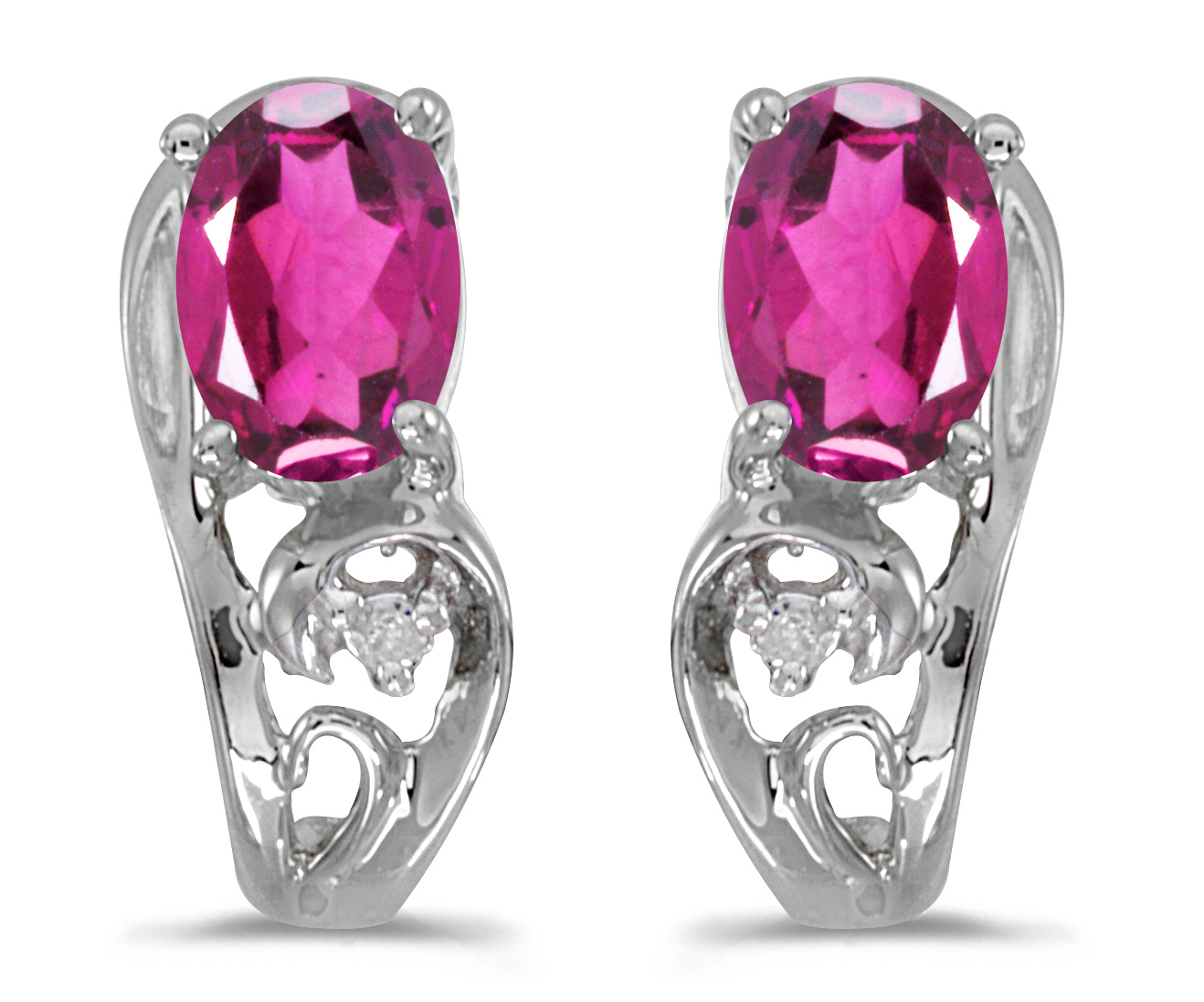 14k White Gold Oval Pink Topaz And Diamond Earrings by