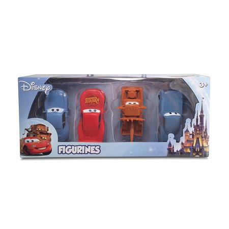 Company Disney Cars Themed 4 Pack Playset (Lightning McQueen, Mater, Finn McMissle, Sally), Includes lightning mcqueen, mater, finn mcmissle, and sally. By Beverly Hills Teddy Bear
