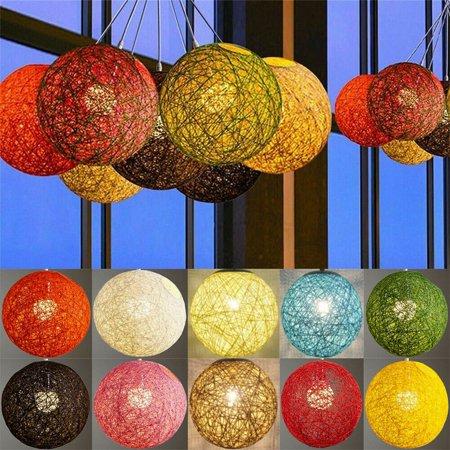 Home Decor Round Hand-woven Rattan Vine Ball Pendant Lampshade Light Lamp Shades ()
