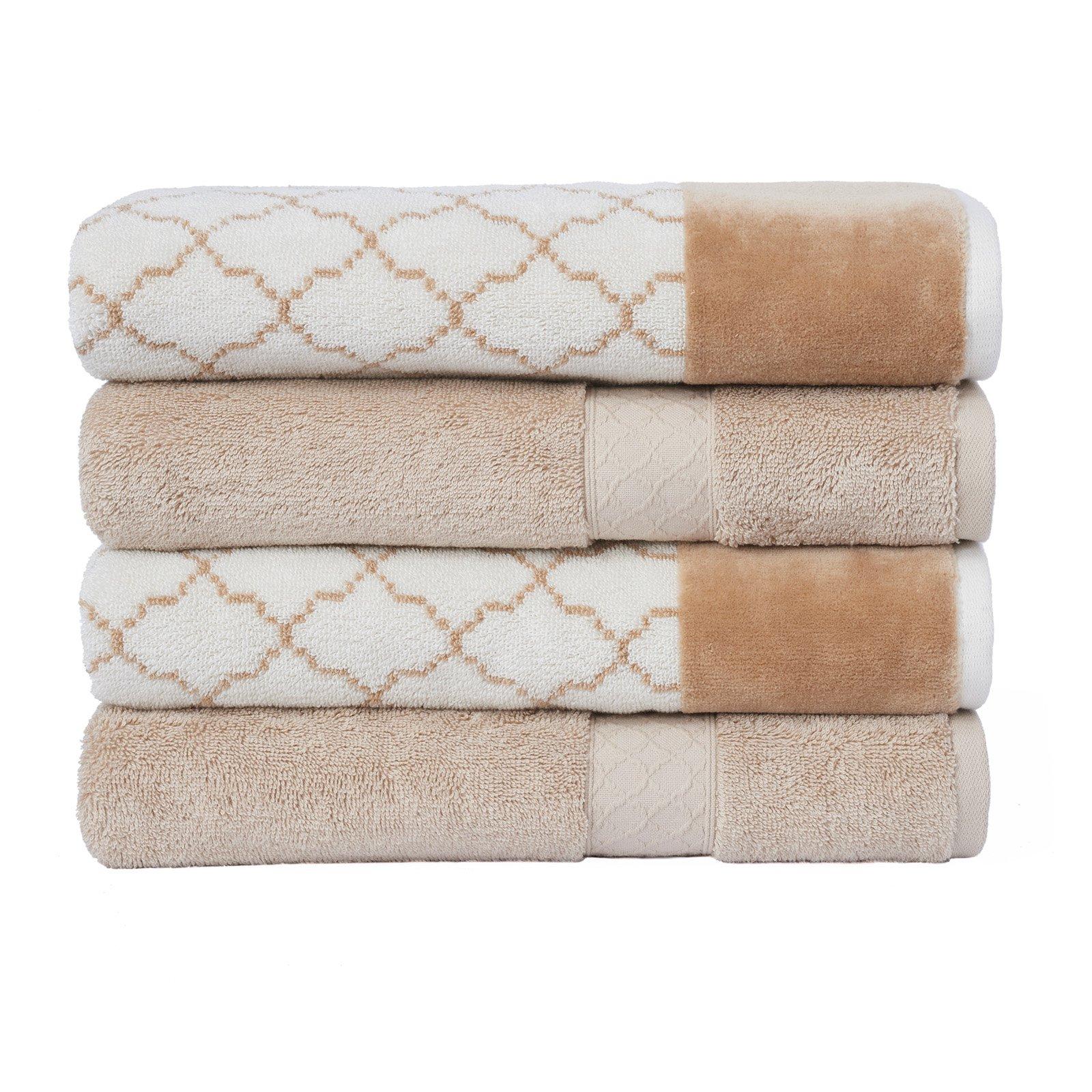 LOFT by Loftex Lattice Jacquard Cotton 4-Piece Bath Towel Set by