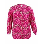 Charter Club Women's Floral Print Pintucked Blouse (PP, Confeti Pink Combo)