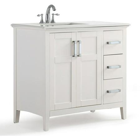 Simpli Home Winston 36 inch Left Offset Bath Vanity with Quartz Marble