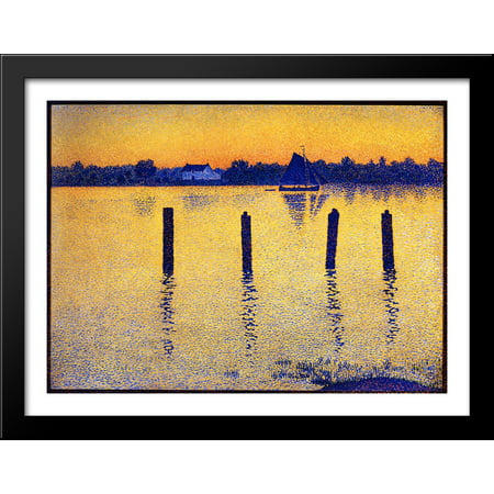 Sailboats on the River Scheldt 36x28 Large Black Wood Framed Print ...