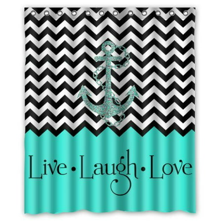 HelloDecor Hipster Quotes Live Love Laugh in Turquoise Colorblock Chevron with Anchor Shower Curtain Polyester Fabric Bathroom Decorative Curtain Size 60x72 (Quot Shower Rose)