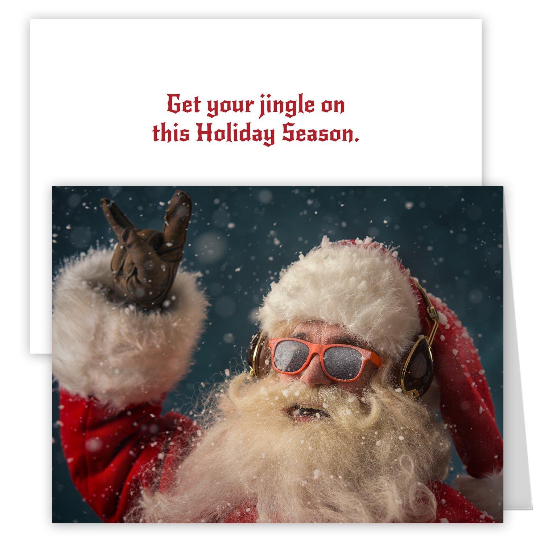 Rock 'n Roll Santa Holiday Card Pack - Set of 25 cards - 1 design, versed inside with envelopes ?