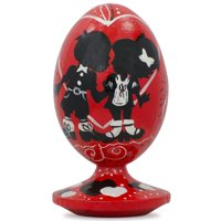 BestPysanky Love Heart and Valentine's Day Kiss in Black Wooden Figurine