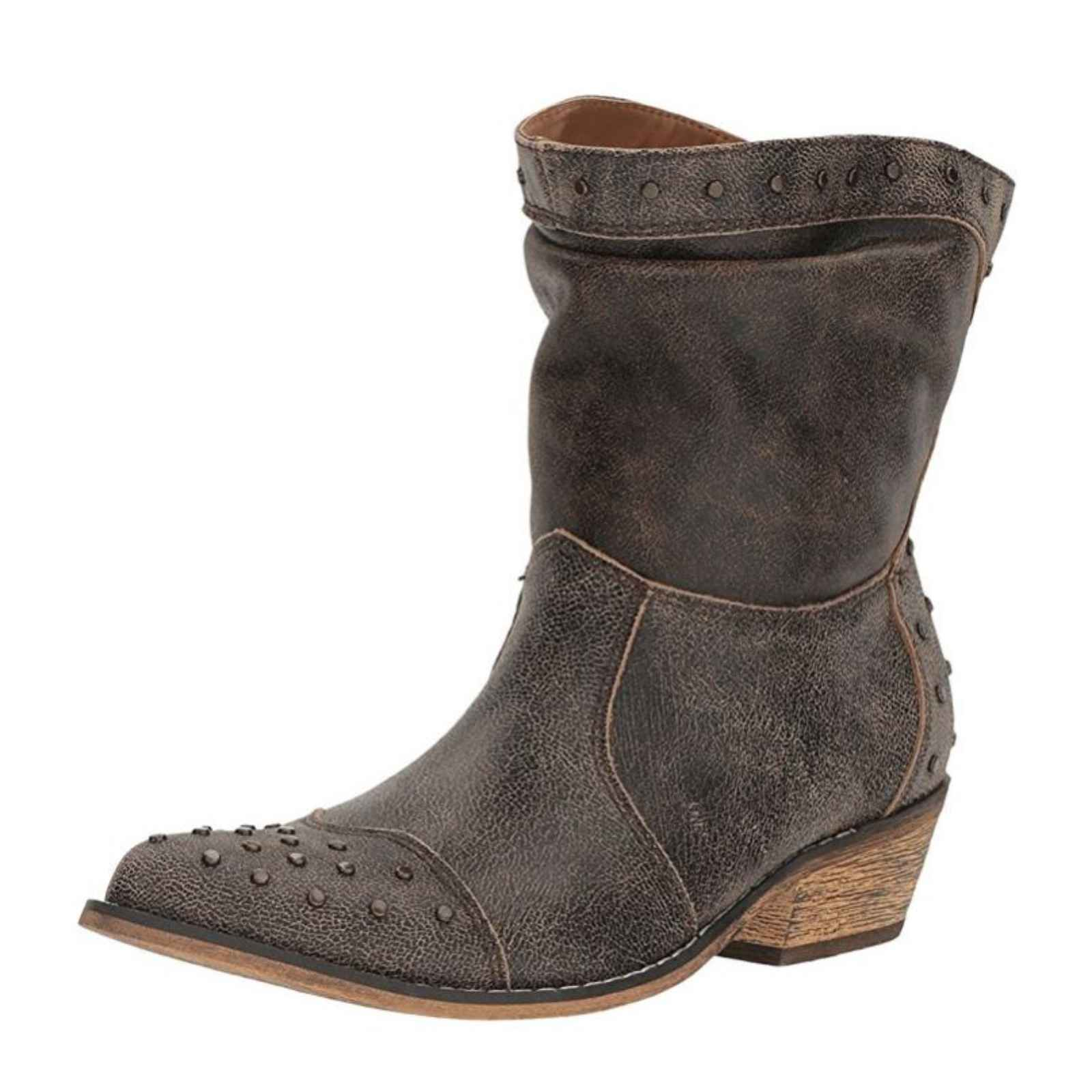 "Dingo Ladies 7"" Western Slouch Boots Black Tan, DI 744 by Dingo"