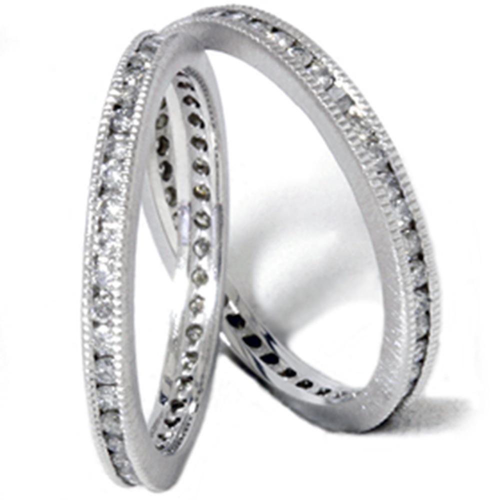 1ct Stackable Diamond Eternity Milgrain Set Wedding Band Ring 14K White Gold - image 1 of 1