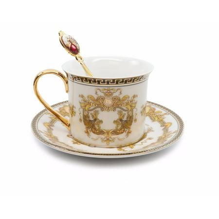 Royalty Porcelain 3-pc White Tea Set, Service for 1, Medusa Greek Key, 24K Gold