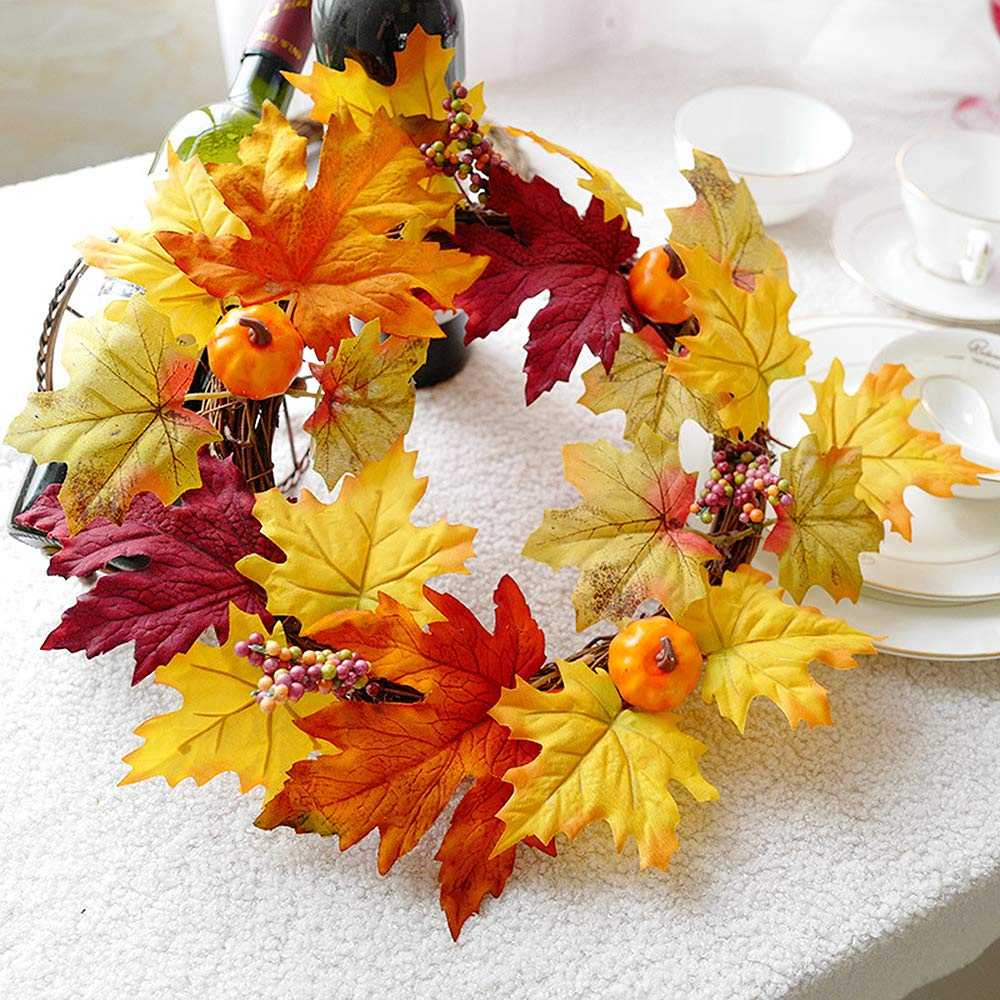 Autumn Artificial Door Wreath Keyohome Halloween Fall Wreath Harvest Wreath Maple Leaves Pumpkins and Colorful Berries for Christmas Thanksgiving Day Indoor or Outdoor D/écor 40CM