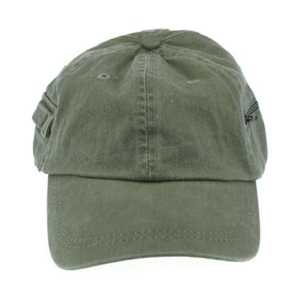 Mens Low Crown Cap w/ Zipper & Hook and Loop Side Pockets Khaki Low Rise Zipper Pockets